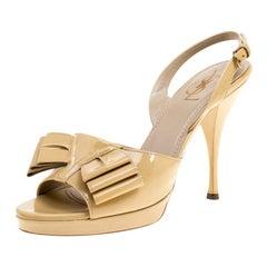 Saint Laurent Paris Beige Patent Leather Bow Platform Singlback Sandals Size 40