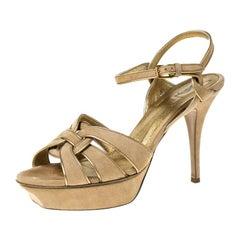 Saint Laurent Paris Beige Suede Tribute Platform Sandals Size 40.5