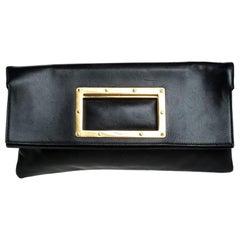Saint Laurent Paris Black Cut Out Leather Flap Clutch