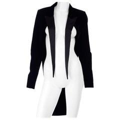 Saint Laurent Paris Black Cutaway Tuxedo Jacket in Velvet & Satin w/ Tails