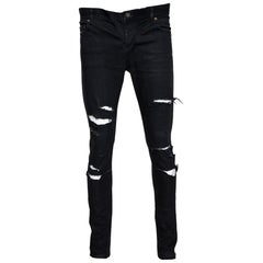Saint Laurent Paris Black Denim Distressed D02 Skinny Jeans M