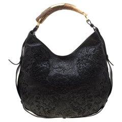 Saint Laurent Paris Black Embossed Leather Mombasa Hobo