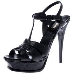 Saint Laurent Paris Black Grained Leather Tribute Ankle Strap Sandals Size 40.5