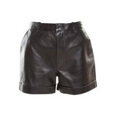 Saint Laurent Paris Black Lamb Leather Shorts L