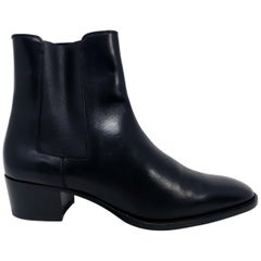 Saint Laurent Paris Black Leather Chelsea Boots, Women's, EU Size 38
