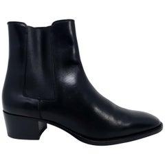 Saint Laurent Paris Black Leather Chelsea Boots, Women's, EU Size 38
