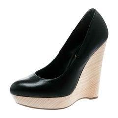 Saint Laurent Paris Black Leather Maryna Wedge Pumps Size 37