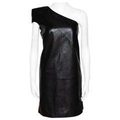 Saint Laurent Paris Black Leather One Shoulder Dress M