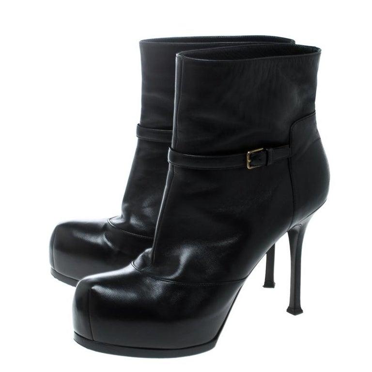 Saint Laurent Paris Black Leather Platform Ankle Boots Size 40.5 For Sale 3