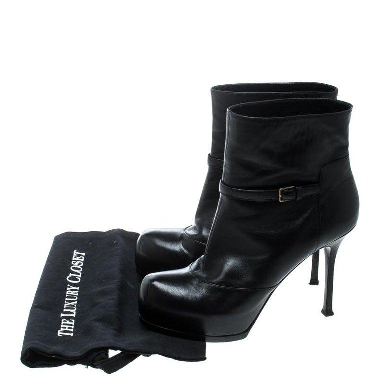 Saint Laurent Paris Black Leather Platform Ankle Boots Size 40.5 For Sale 4