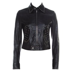 Saint Laurent Paris Black Leather Studded Biker Jacket S