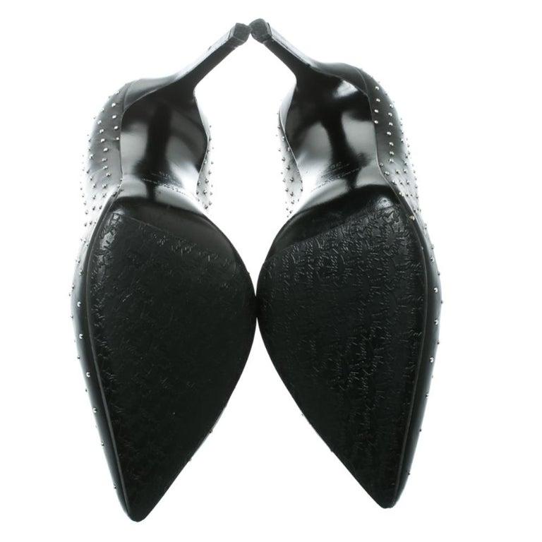 Women's Saint Laurent Paris Black Leather Studded Pointed Toe Pumps Size 39