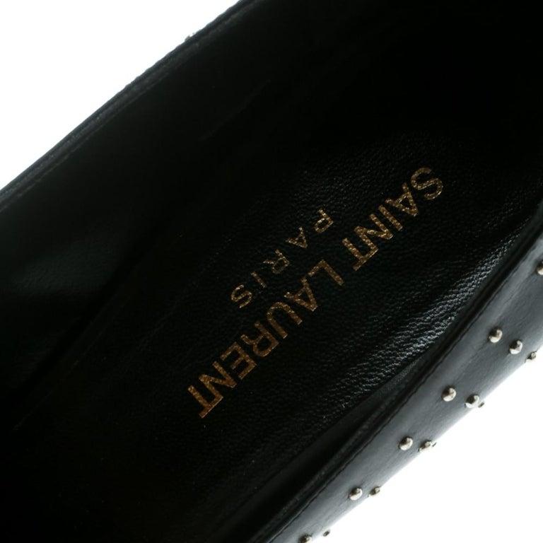 Saint Laurent Paris Black Leather Studded Pointed Toe Pumps Size 39 2
