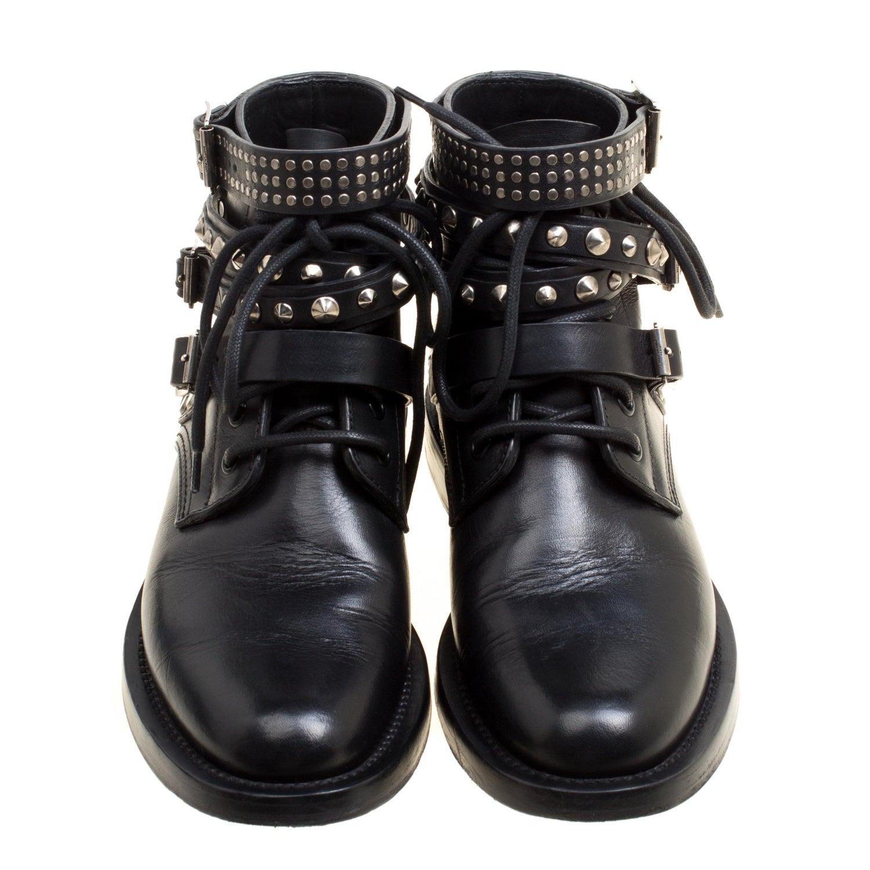 84540db915b Saint Laurent Paris Black Leather Studded Rangers Ankle Boots Size 36.5 For  Sale at 1stdibs