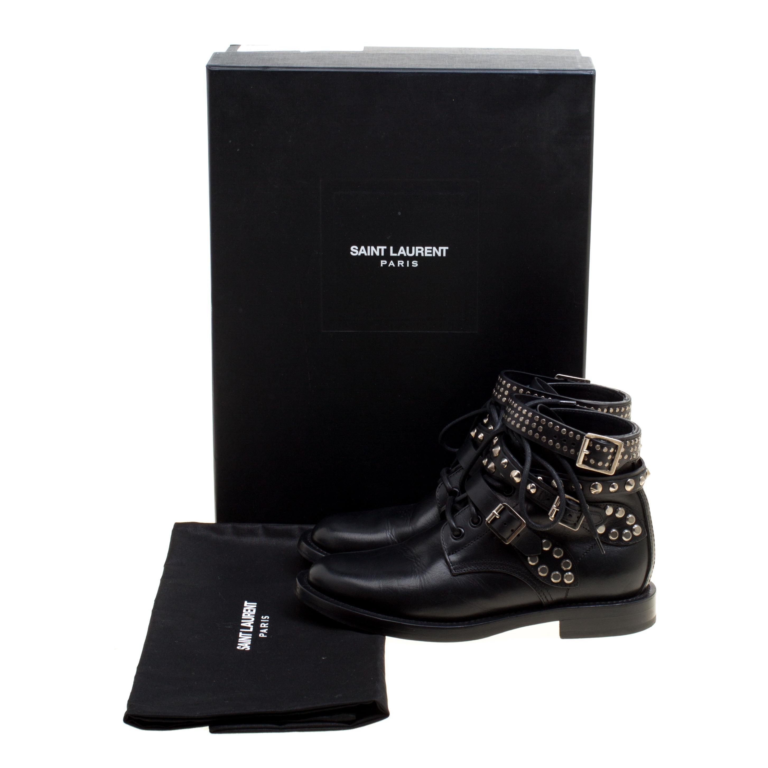 7f8f8331b1d Saint Laurent Paris Black Leather Studded Rangers Ankle Boots Size 36.5 For  Sale at 1stdibs