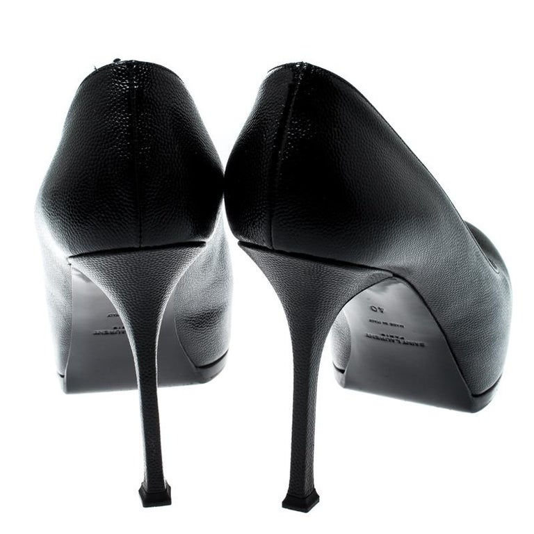 Saint Laurent Paris Black Leather Tribtoo Platform Pumps Size 40 In Good Condition For Sale In Dubai, Al Qouz 2
