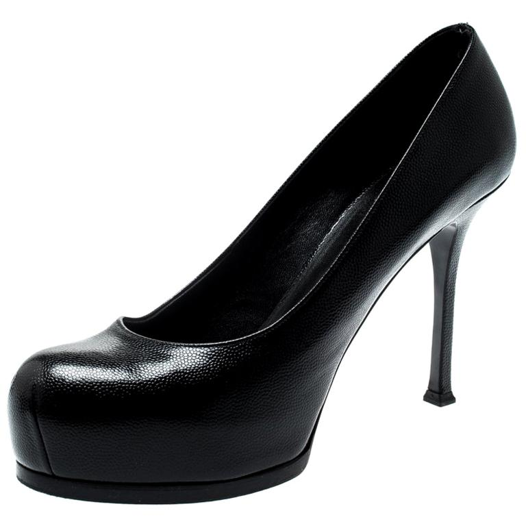 Saint Laurent Paris Black Leather Tribtoo Platform Pumps Size 40 For Sale