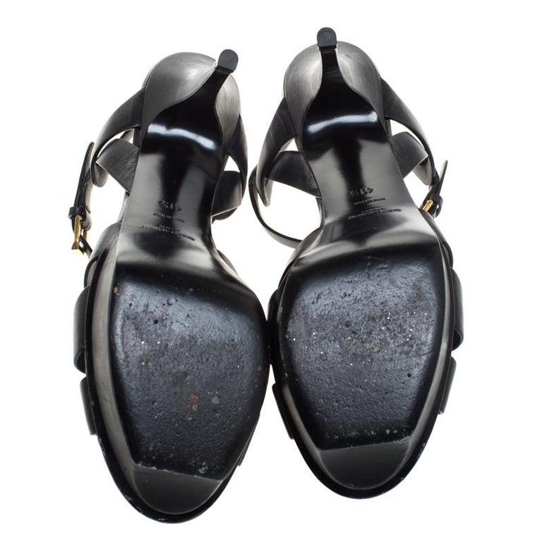 Women's Saint Laurent Paris Black Leather Tribute Platform Ankle Strap Sandals Size 41.5
