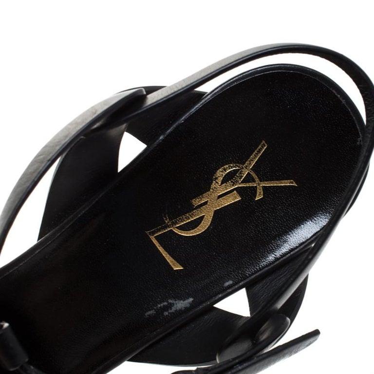 Saint Laurent Paris Black Leather Tribute Platform Ankle Strap Sandals Size 41.5 2