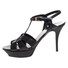 Saint Laurent Paris Black Leather Tribute Platform Ankle Strap Sandals Size 41.5
