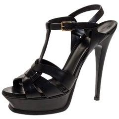 Saint Laurent Paris Black Leather Tribute Platform Sandals Size 38