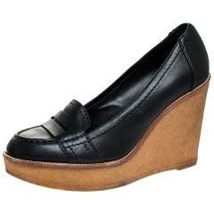 Saint Laurent Paris Black Leather Wedge Platform Loafer Pumps Size 39