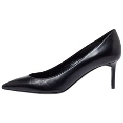 Saint Laurent Paris Black Leather Zoe Pointed Toe Pumps Size 36.5