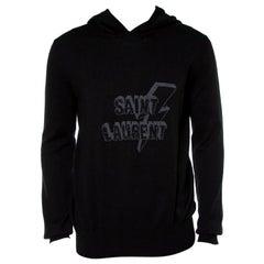 Saint Laurent Paris Black Lightning Bolt Hooded Jumper XL