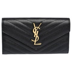 Saint Laurent Paris Black Matelassé Leather Monogram Flap Wallet