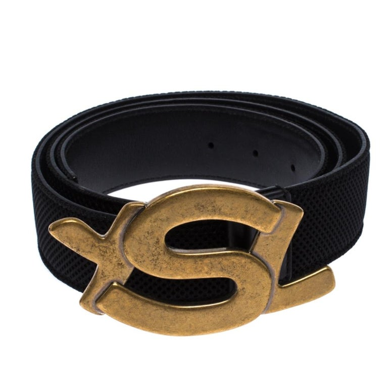 Saint Laurent Paris Black Mesh and Leather YSL Logo Buckle Belt 100CM In Good Condition For Sale In Dubai, Al Qouz 2