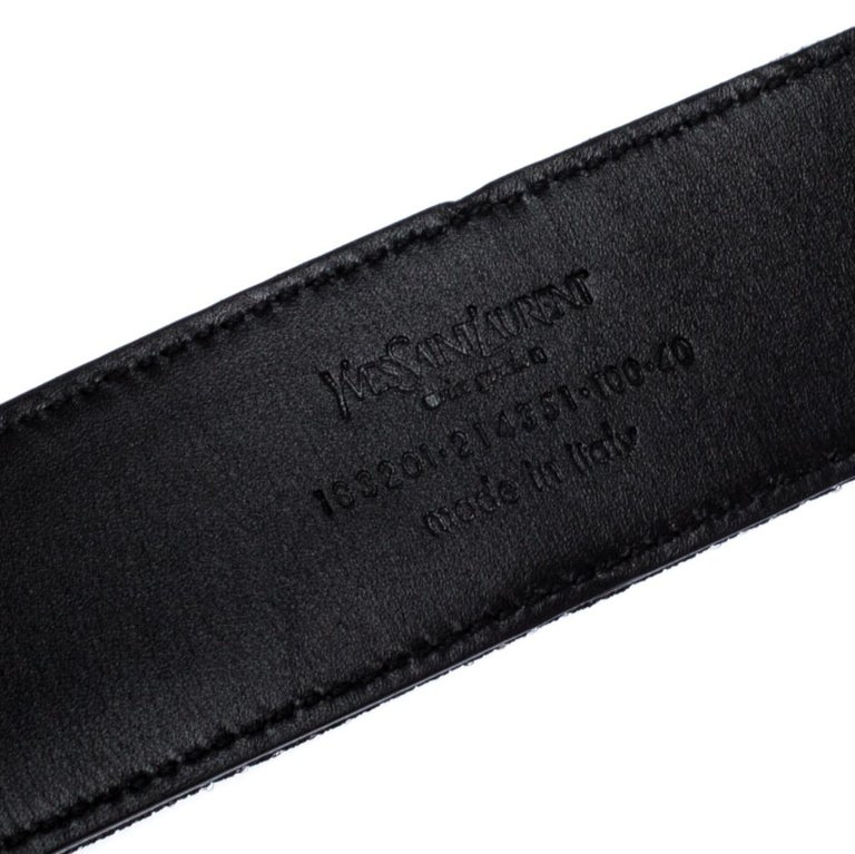 Saint Laurent Paris Black Mesh and Leather YSL Logo Buckle Belt 100CM For Sale 1
