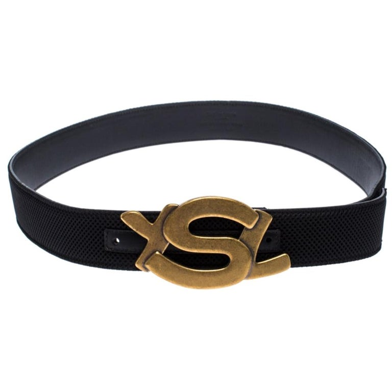 Saint Laurent Paris Black Mesh and Leather YSL Logo Buckle Belt 100CM For Sale