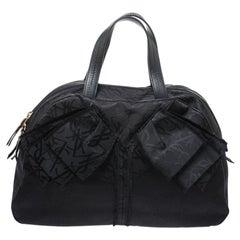 Saint Laurent Paris Black Nylon and Leather Duffle Bag