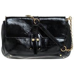 Saint Laurent Paris Black Patent Leather Emma Chain Shoulder Bag