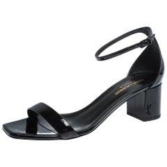 Saint Laurent Paris Black Patent Leather Loulou Ankle Strap Sandals Size 38