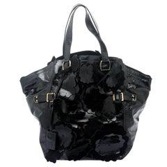 Saint Laurent Paris Black Patent Leather Medium Floral Applique Downtown Tote
