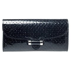 Saint Laurent Paris Black Patent Leather Muse Clutch