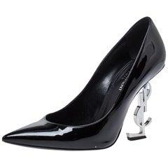 Saint Laurent Paris Black Patent Leather Opyum Pointed Toe Pumps Size 38