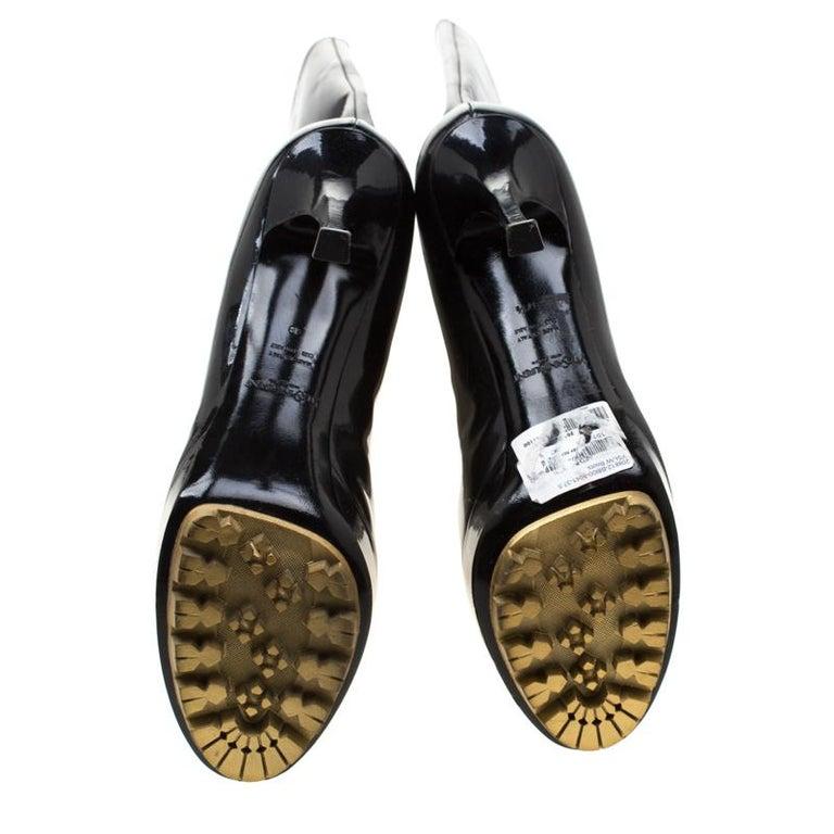 Women's Saint Laurent Paris Black Patent Leather Platform Mid Calf Boots Size 38