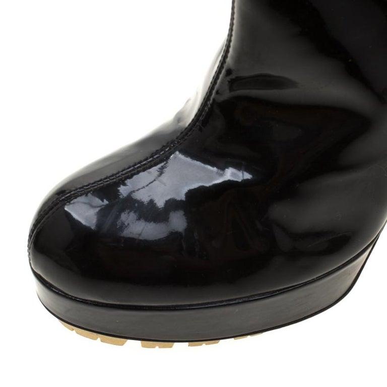 Saint Laurent Paris Black Patent Leather Platform Mid Calf Boots Size 38 1