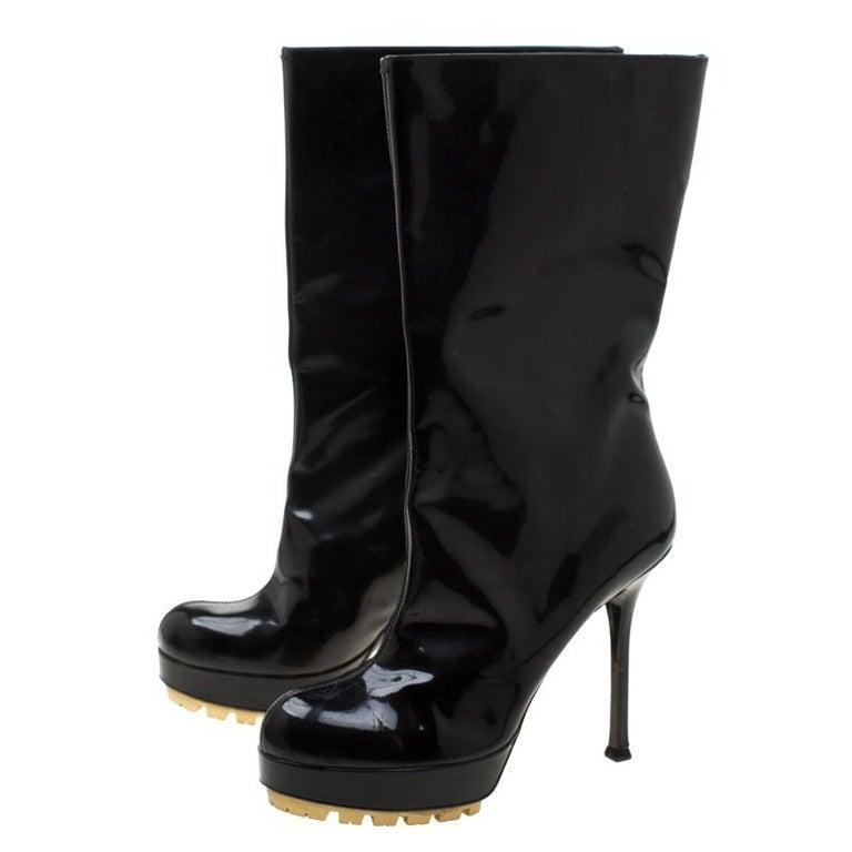 Saint Laurent Paris Black Patent Leather Platform Mid Calf Boots Size 38 3