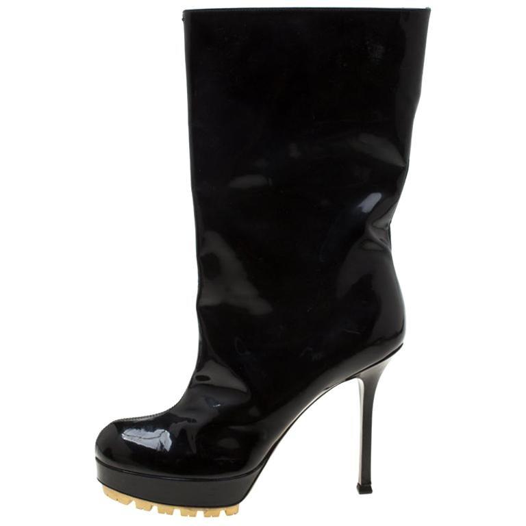 Saint Laurent Paris Black Patent Leather Platform Mid Calf Boots Size 38