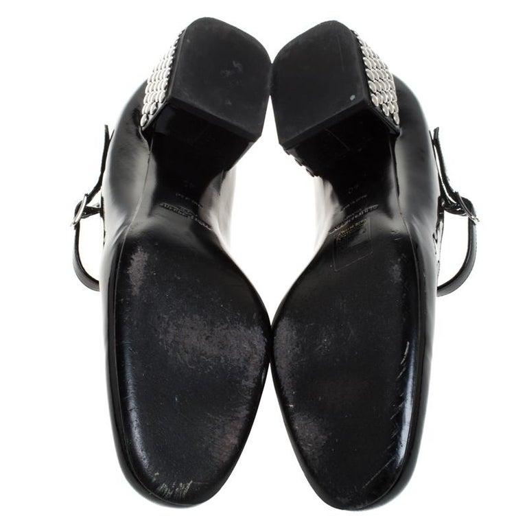 Women's Saint Laurent Paris Black Patent Leather  Studded Block Heel Pumps Size 40 For Sale