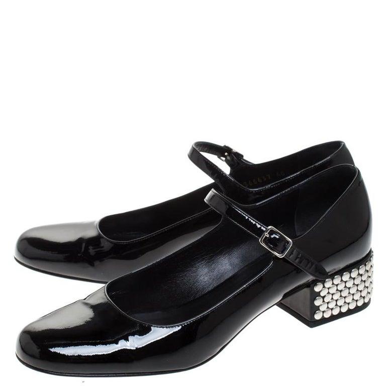 Saint Laurent Paris Black Patent Leather  Studded Block Heel Pumps Size 40 For Sale 2