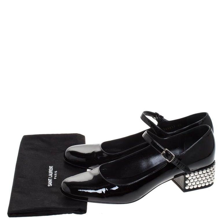 Saint Laurent Paris Black Patent Leather  Studded Block Heel Pumps Size 40 For Sale 3