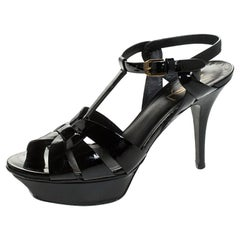 Saint Laurent Paris Black Patent Leather Tribute Platform Sandals Size 38.5