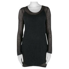 Saint Laurent Paris Black Perforated Knit Mesh Long Sleeve Dress S