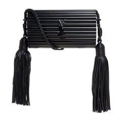 Saint Laurent Paris Black Plexiglass Opium Tassel Minaudiere Bag