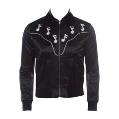 Saint Laurent Paris Black Satin Music Notes Western Jacket XS