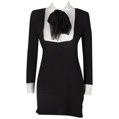 Saint Laurent Paris Black Sequinned Yoke Detail Long Sleeve Dress S